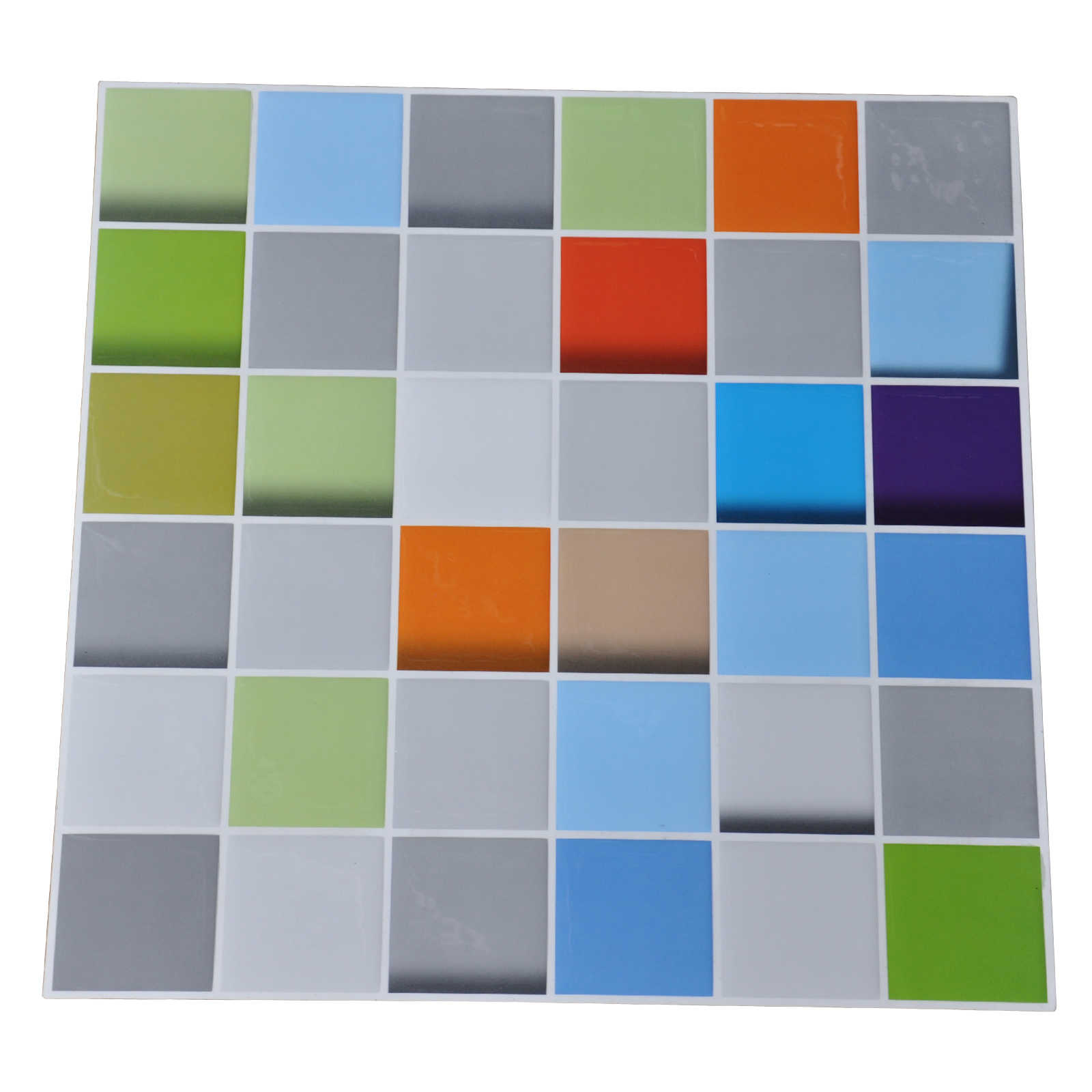 Art3d 12' x 12' Gel Mosaic Sticker Kitchen Backsplash Tile Peel and Stick Vinyl Sticker, Colorful Square